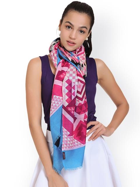 SHINGORA Women Pink & Blue Printed Stole
