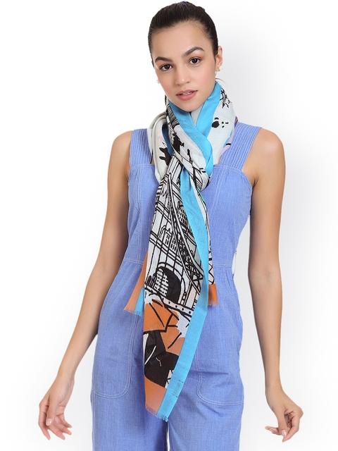 SHINGORA Women Off-White & Blue Printed Stole