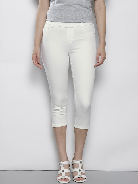 DOROTHY PERKINS Women Petite White Solid Cropped Jeggings