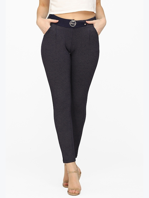Xblues Women Navy Blue Self Design Jeggings
