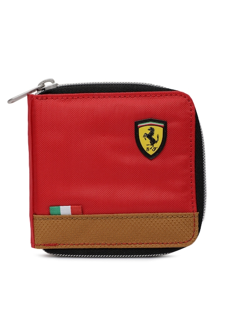 Puma Men Red Solid Zip Around Wallet