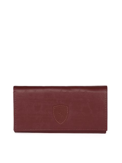 Puma Women Maroon Textured Two Fold SF Wallet