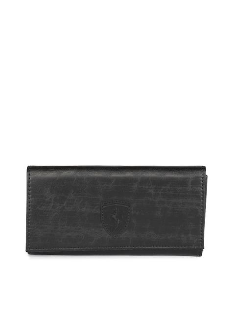 Puma Women Black Textured Two Fold SF Wallet