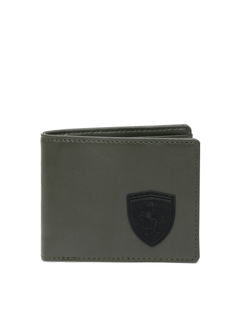 Puma Men Olive Green Solid Two Fold Wallet
