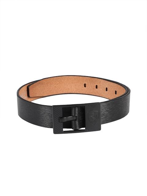 Puma Men Black Textured Leather Belt