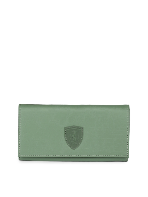 Puma Women Olive Green Solid Two Fold SF Wallet