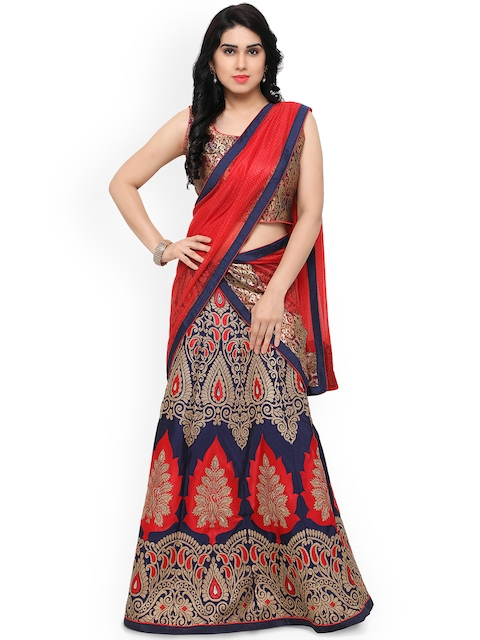 Styles Closet Navy & Red Printed Unstitched Lehenga & Blouse with Dupatta