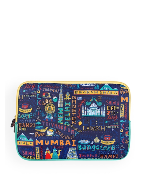 Chumbak Unisex Navy Blue & Yellow Printed Laptop Sleeve
