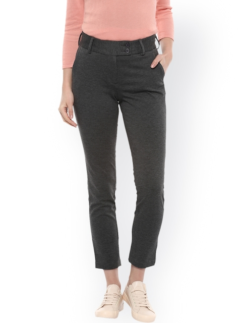 Allen Solly Woman Grey Cropped Regular Trousers