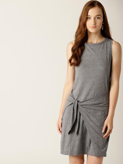 United Colors of Benetton Women Grey Melange Solid Sheath Dress