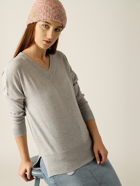 United Colors of Benetton Women Grey Melange Solid Pullover