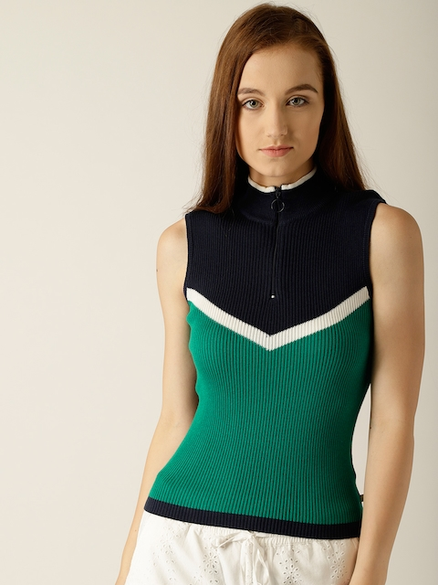 United Colors of Benetton Women Green & Navy Blue Colourblocked Pullover