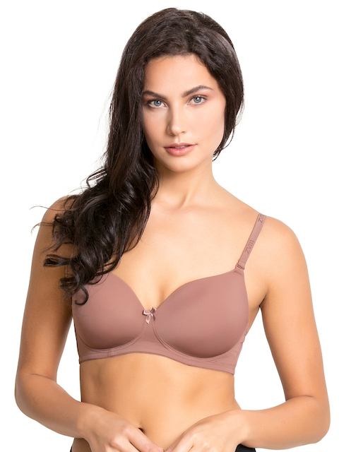 Zivame Beige Solid Underwired Lightly Padded T-shirt Bra ZI1131COREBROWN