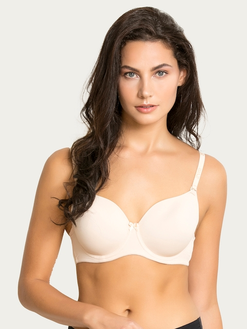 Zivame Beige Solid Underwired Lightly Padded T-shirt Bra ZI1489FASHANUDE