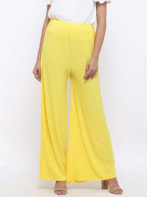 SOUNDARYA Women Yellow Solid Lycra Cotton Palazzos