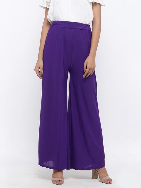 SOUNDARYA Women Purple Solid Wide Leg Palazzos