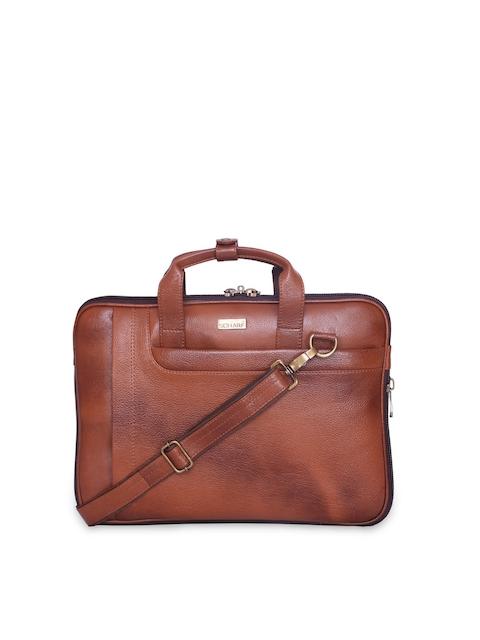 SCHARF Unisex Tan  Brown Leather Laptop Bag