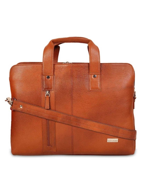 SCHARF Unisex Tan Brown Solid Laptop Bag