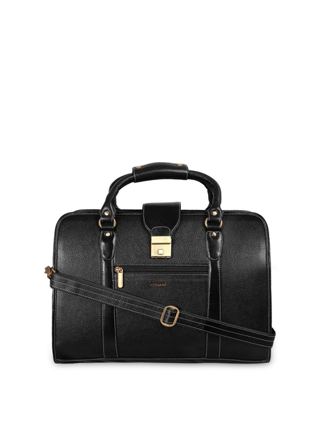 SCHARF Unisex Black Leather Laptop Bag