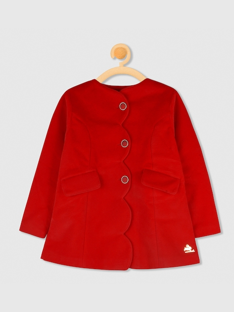 Cherry Crumble Girls Red Solid Lightweight Open Front Jacket