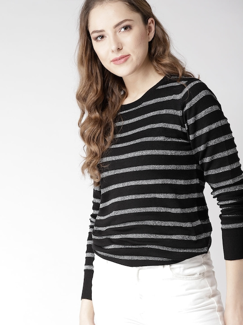 Mast & Harbour Women Black & Silver Self Striped Pullover