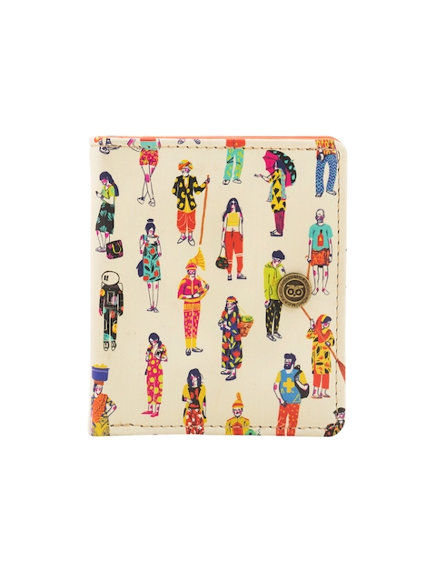 Chumbak Women Off-White Printed Two Fold Wallet