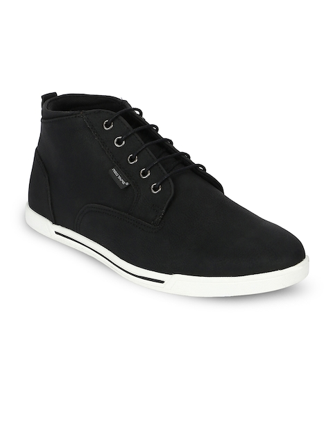 Red Tape Men Black Solid Synthetic High-Top Flat Boots