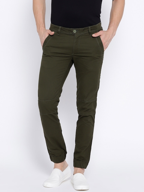 Breakbounce Men Olive Green Solid Skinny Fit Joggers