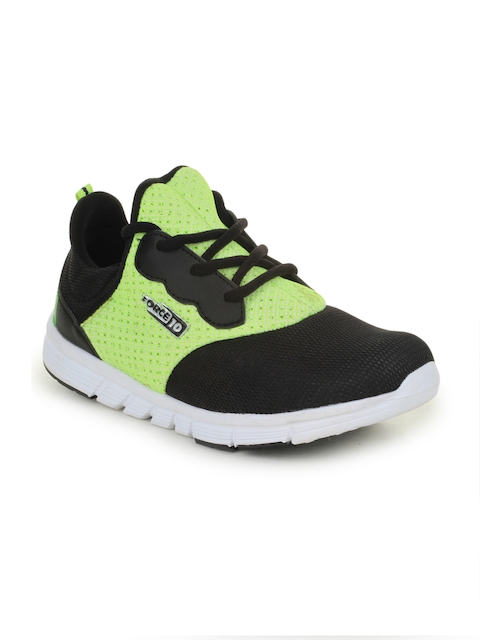 Liberty Women Green & Black Mesh Mid-Top Running Shoes