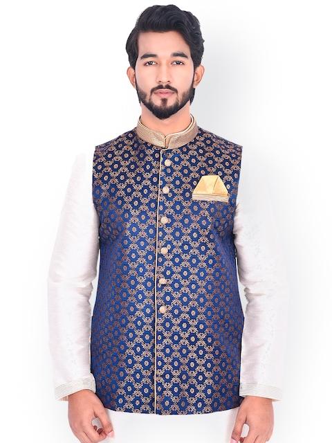Manyavar Men Navy Blue & Gold Toned Printed Nehru Jacket