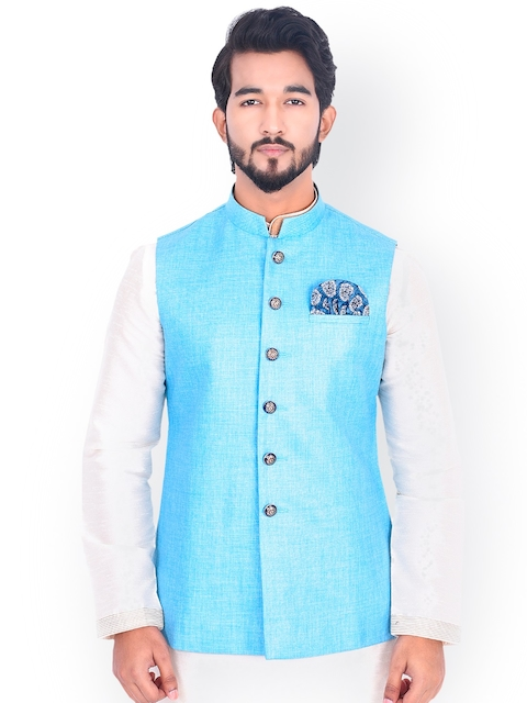 Manyavar Men Blue Nehru Jacket