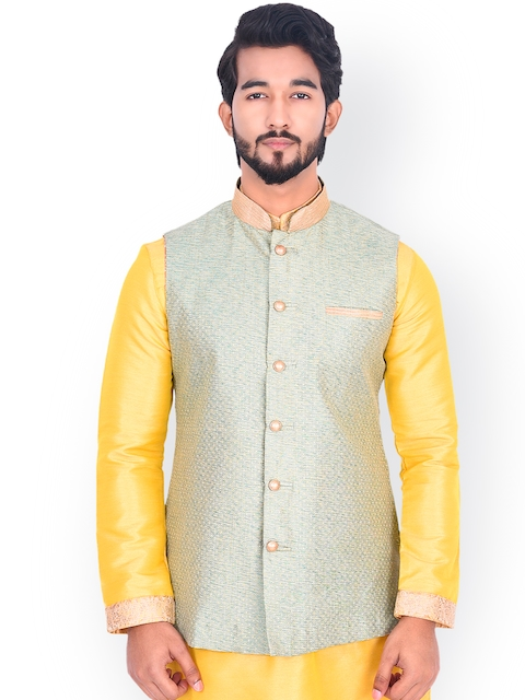 Manyavar Men Green Woven Design Nehru Jacket
