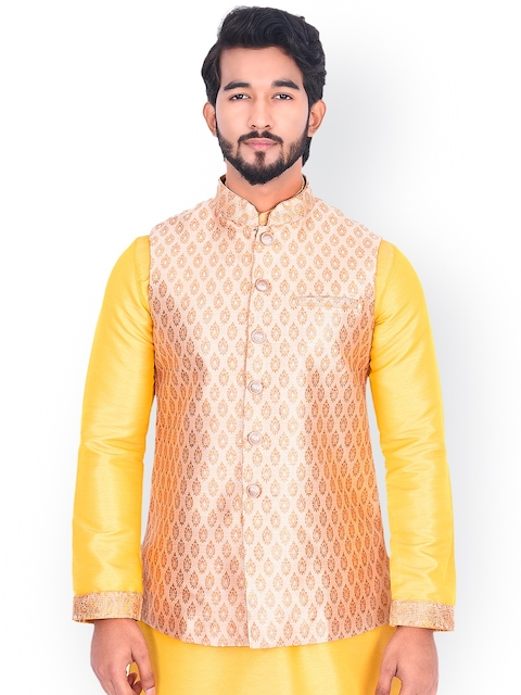 Manyavar Men Beige Woven-Design Nehru Jacket