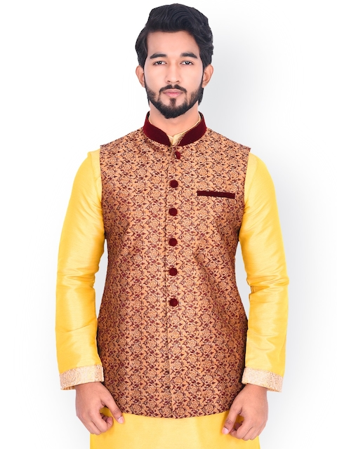 Manyavar Men Beige & Maroon Woven-Design Nehru Jacket