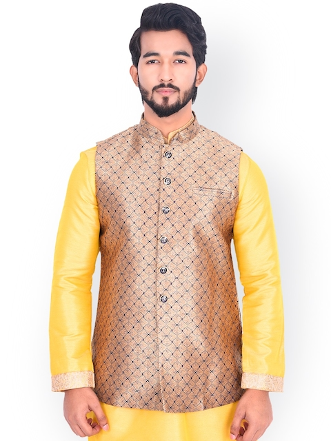 Manyavar Men Beige & Blue Woven-Design Nehru Jacket