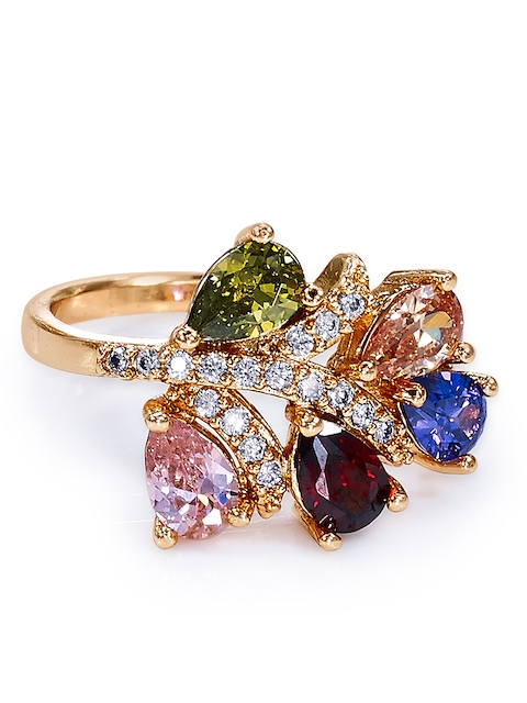 Peora 18K Gold Plated Multicolour AAA Cubic Zirconia Spring Blossom Ring for Girls & Women