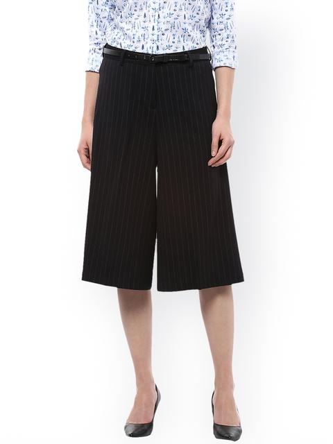 Allen Solly Woman Black Regular Fit Striped Culottes