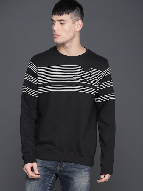 WROGN Men Black & Grey Striped Sweatshirt