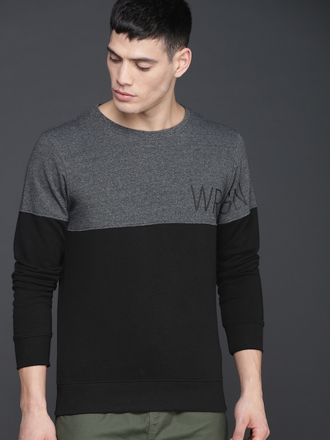WROGN Men Black & Grey Colourblocked Sweatshirt