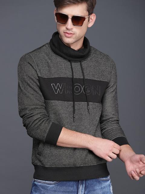 WROGN Men Black Self Design Sweatshirt