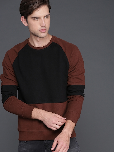 WROGN Men Black & Maroon Colourblocked Sweatshirt