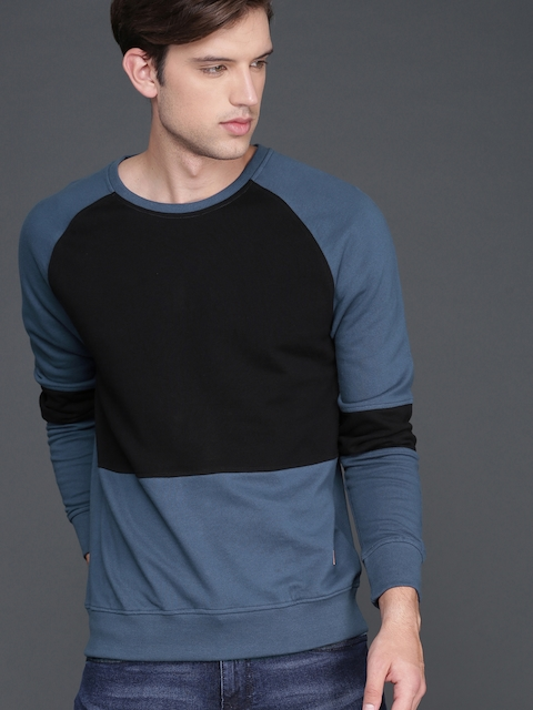 WROGN Men Black & Blue Colourblocked Sweatshirt