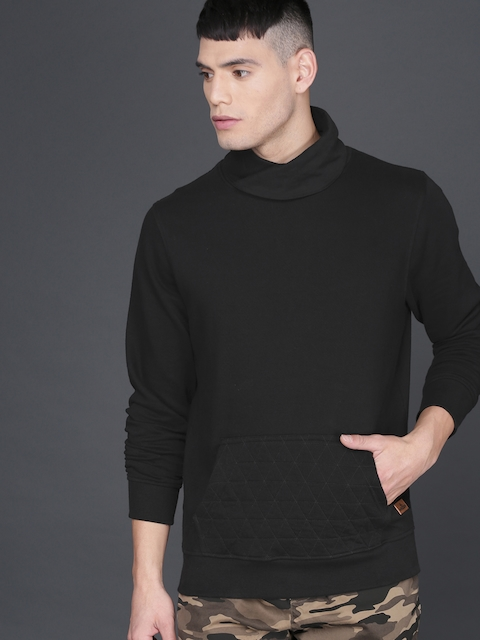 WROGN Men Black Slim Fit Solid Sweatshirt
