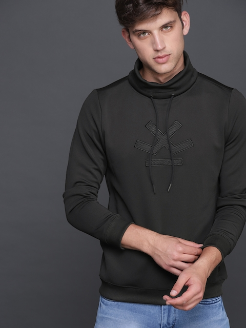 WROGN Men Black Solid Sweatshirt