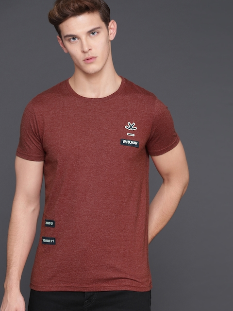 WROGN Men Red Solid Round Neck T-shirt