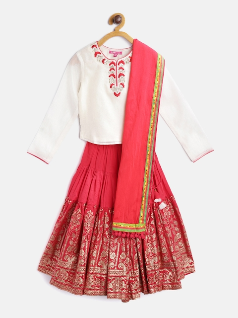 Biba Girls Red & Off-White Ready to Wear Lehenga & Blouse with Dupatta