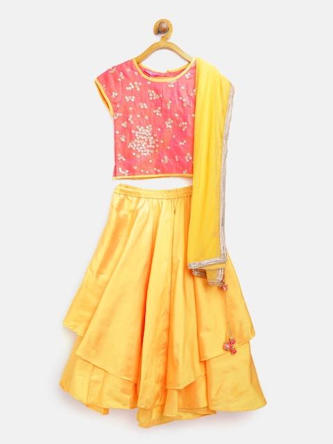 Biba Girls Yellow & Pink Embellished Ready to Wear Lehenga Choli with Dupatta