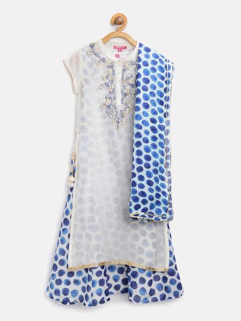 Biba Girls Off-White & Blue Printed Layered A-Line Kurta with Dupatta