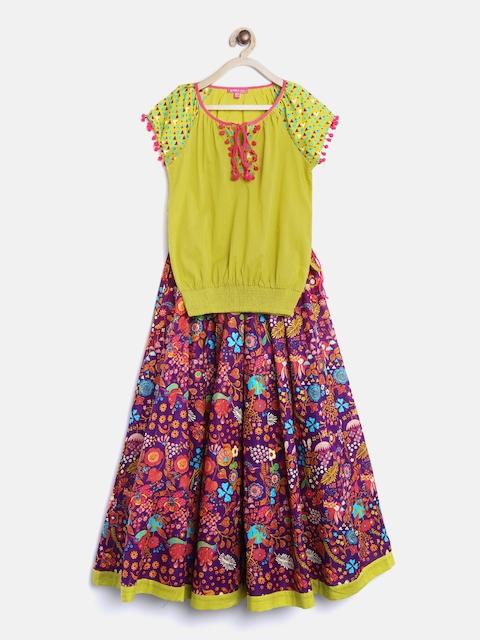 Biba Girls Lime Green & Purple Top with Skirt
