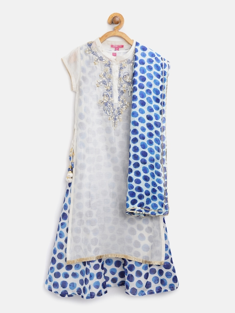 Biba Girls Off-White & Blue Printed Layered A-Line Kurta with Embroidered Detail